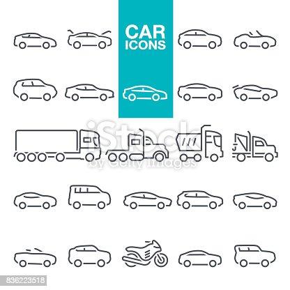 Mode of Transport, Pick-up Truck, Van - Vehicle, Land Vehicle, Car line icons set