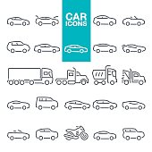 Mode of Transport, Pick-up Truck, Van - Vehicle, Land Vehicle, Car line icons set