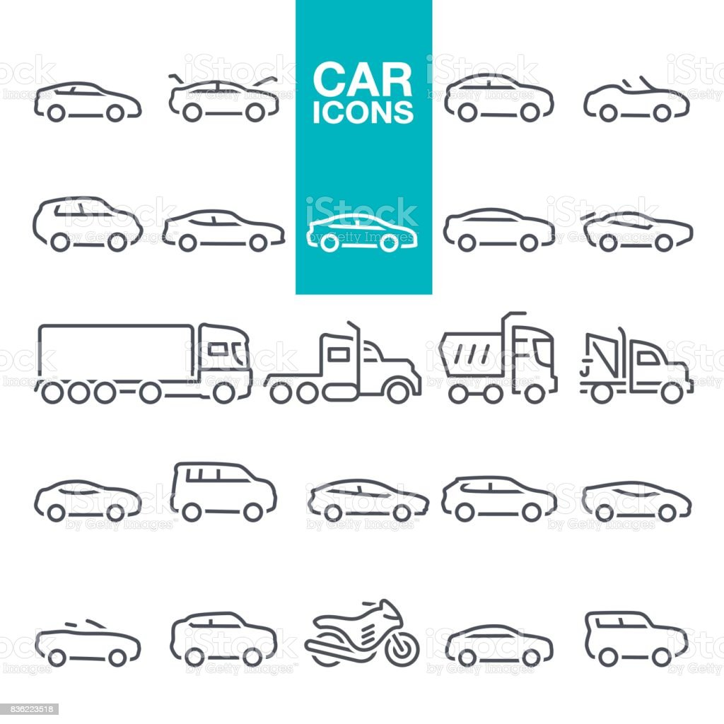 Car line icons - illustrazione arte vettoriale