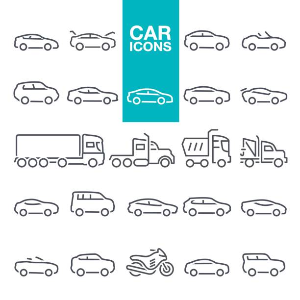 Car line icons Mode of Transport, Pick-up Truck, Van - Vehicle, Land Vehicle, Car line icons set convertible stock illustrations