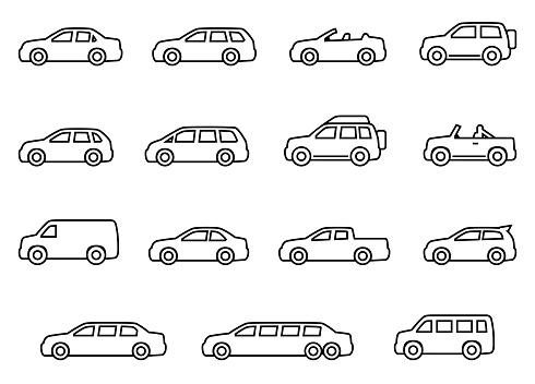 Car line silhouette icons set
