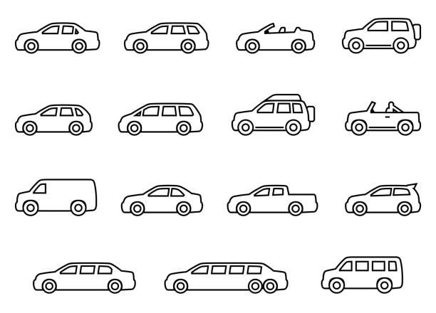 autolinie silhouette symbole gesetzt - auto stock-grafiken, -clipart, -cartoons und -symbole