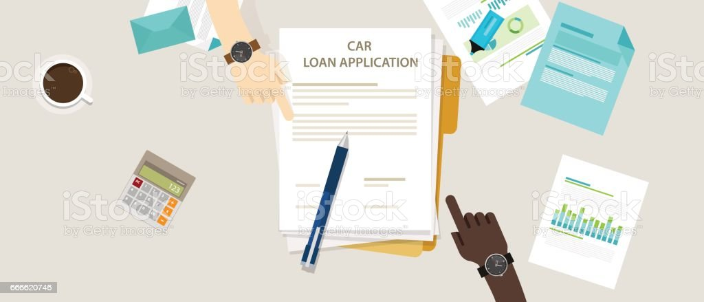car loan application form submission document paper work vector art illustration