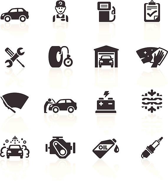 Car Maintenance & Care Icons vector art illustration