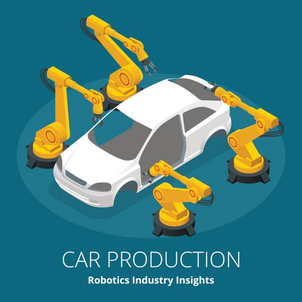 Car manufacturer or car production concept. Robotics Industry Insights. Automotive and electronics are top industry sectors for robotics use. Flat 3d vector isometric illustration Car manufacturer or car production concept. Robotics Industry Insights. Automotive and electronics are top industry sectors for robotics use. Flat 3d vector isometric illustration. automobile industry stock illustrations