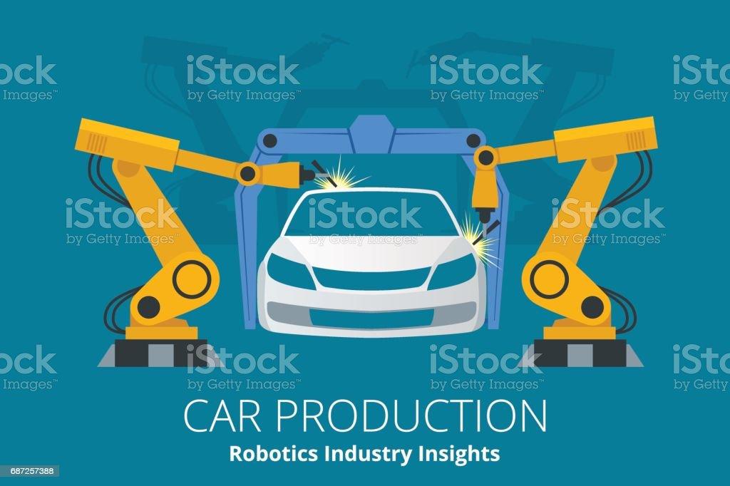 Car manufacturer or car production concept. Robotics Industry Insights. vector art illustration
