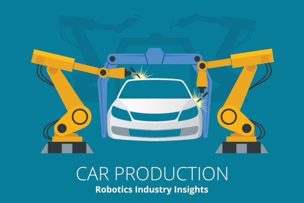 Car manufacturer or car production concept. Robotics Industry Insights. Car manufacturer or car production concept. Robotics Industry Insights. Automotive and electronics are top industry sectors for robotics use. Flat vector illustration automobile industry stock illustrations
