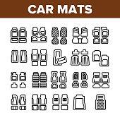 Car Mats Floor Carpet Collection Icons Set Vector