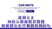 Car Mats Floor Carpet Landing Header Vector