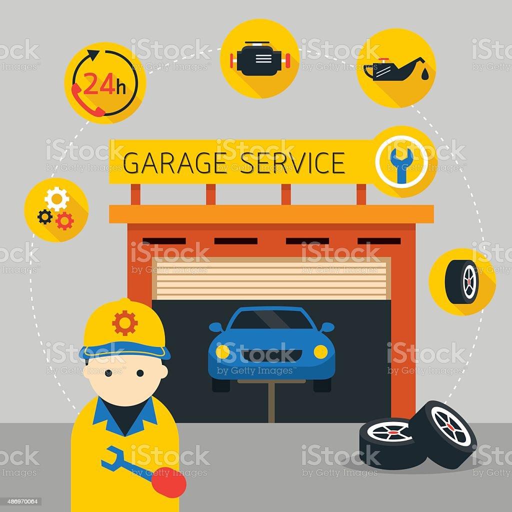自動車整備工と駐車場サービスアイコンやイラスト ベクターアートイラスト
