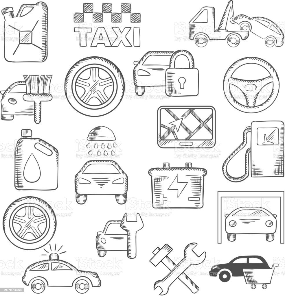 Car, mechanic and service icons vector art illustration