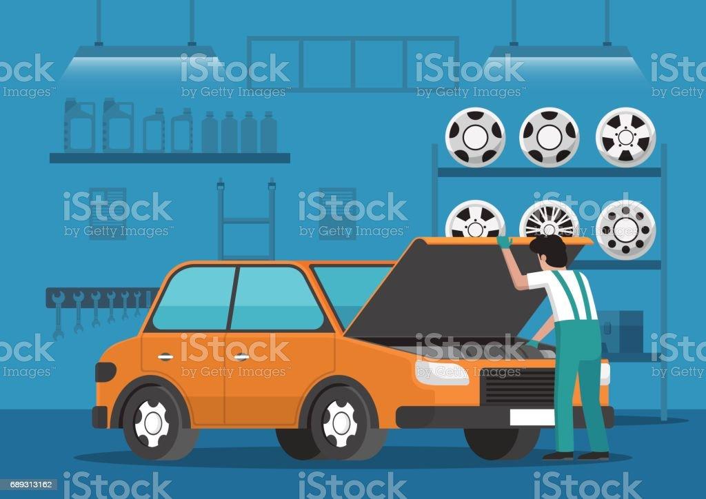 Fixation mécanique voiture auto réparation garage. - Illustration vectorielle