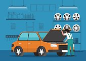 Car mechanic fixing car in auto repair garage.