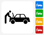 Car Mechanic Icon Flat Graphic Design