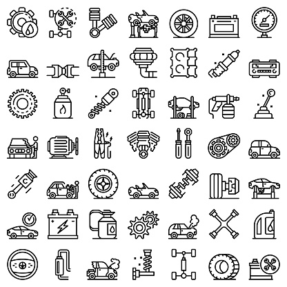 Car mechanic icons set, outline style