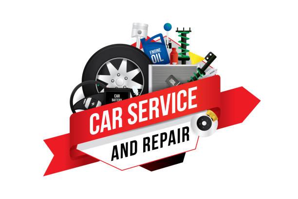 ilustrações, clipart, desenhos animados e ícones de serviço de mecânica de automóveis - garage