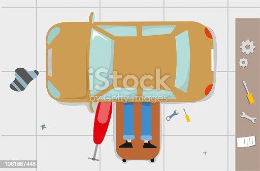 istock Car mechanic under the car 1061867448
