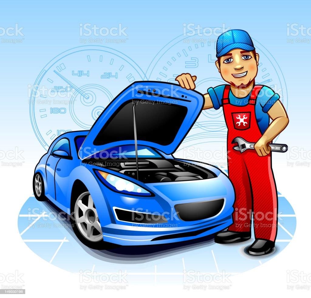 Car mechanic vector art illustration