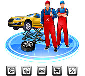 Auto mechanic in service station against the background of car. Include icons set.