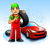 Car mechanic  with wheel