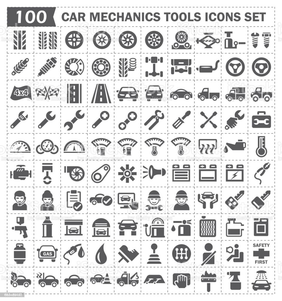 car mechanics icon vector art illustration