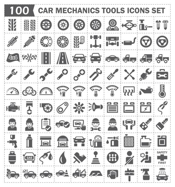 car mechanics icon Car mechanics and car part vector icon set design. gearshift stock illustrations