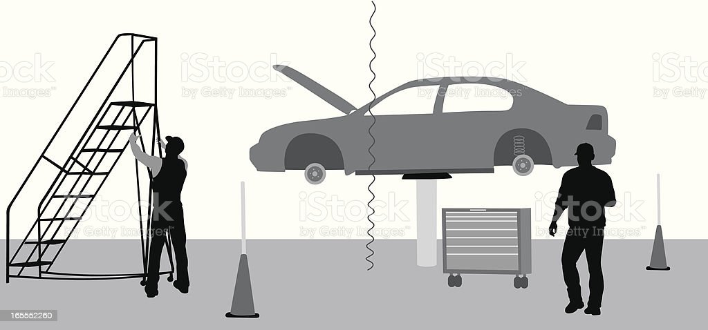 Car Mechanics Vector Silhouette vector art illustration