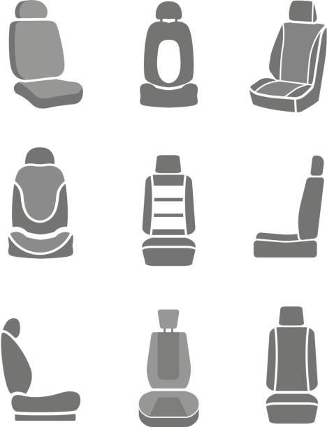 auto spiegel symbole - fahrzeugsitz stock-grafiken, -clipart, -cartoons und -symbole