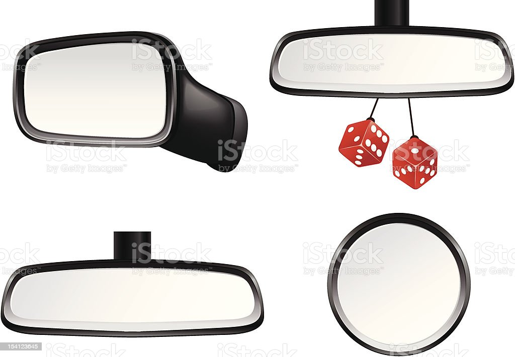 Car mirror set vector art illustration