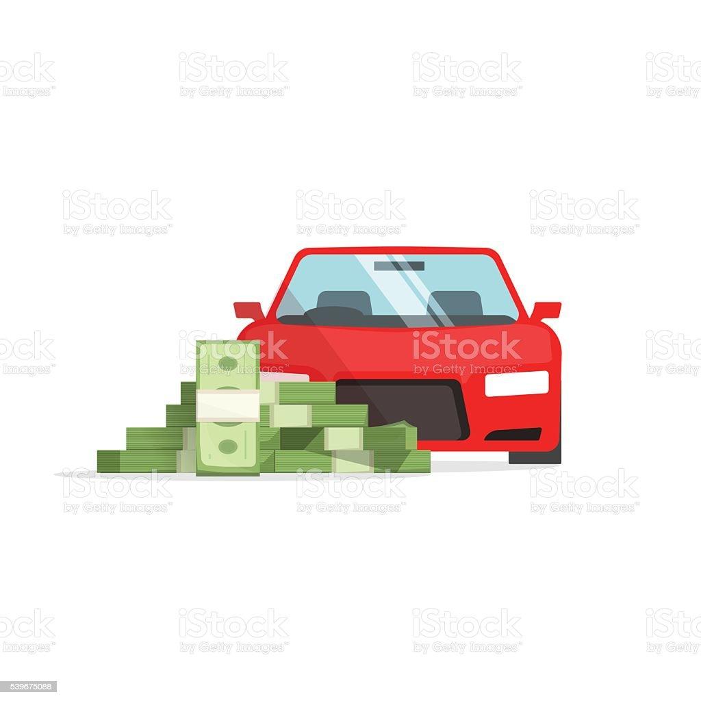 Car money concept of expenses, auto savings, financial success, loan, vector art illustration