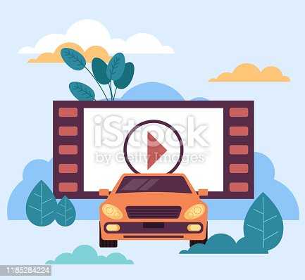 Car movies under open air sky concept. Vector flat graphic design