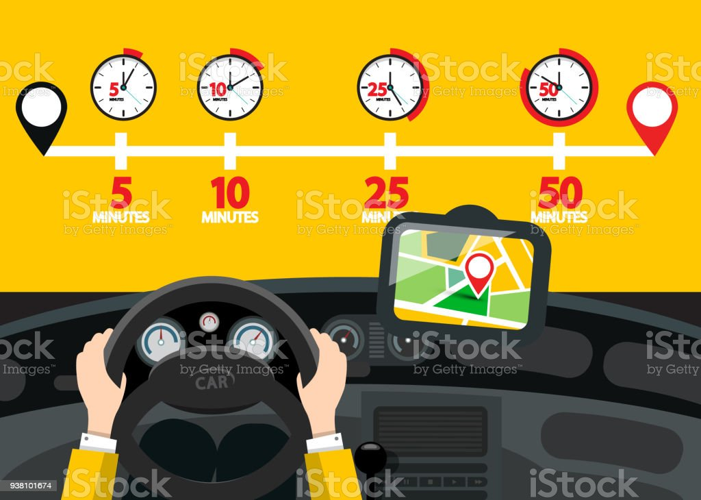 Car Navigation with Time Icons vector art illustration