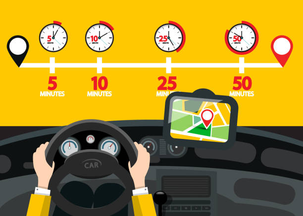 Car Navigation with Time Icons Car Navigation with Time Icons. Vector Road Map with Pins. steering wheel stock illustrations