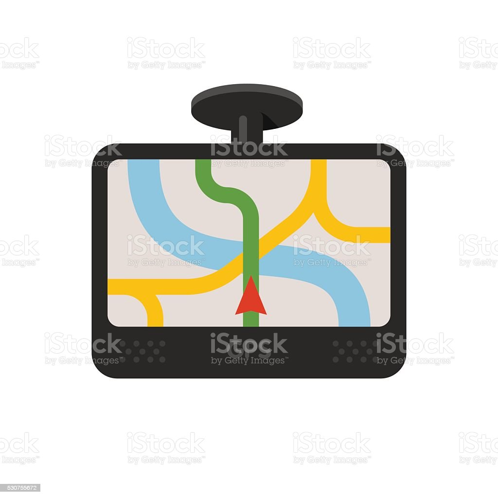 Car navigator device. GPS navigation vector art illustration