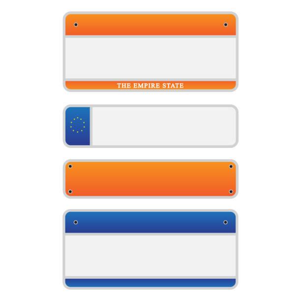 auto nummer platten lizenz eingestellt abbildung - nummernschilder stock-grafiken, -clipart, -cartoons und -symbole