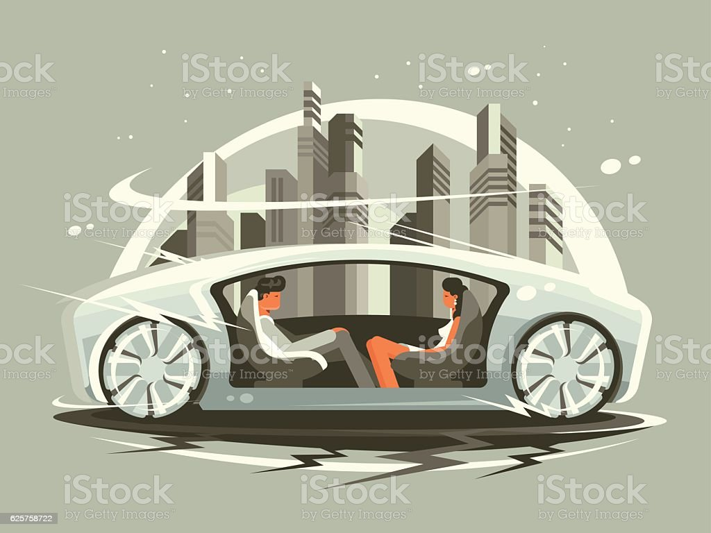 Car of future vector art illustration