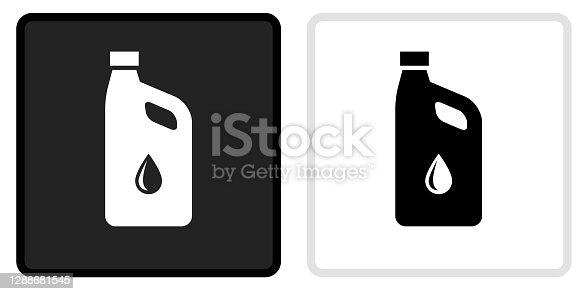 Car Oil Icon on  Black Button with White Rollover. This vector icon has two  variations. The first one on the left is dark gray with a black border and the second button on the right is white with a light gray border. The buttons are identical in size and will work perfectly as a roll-over combination.