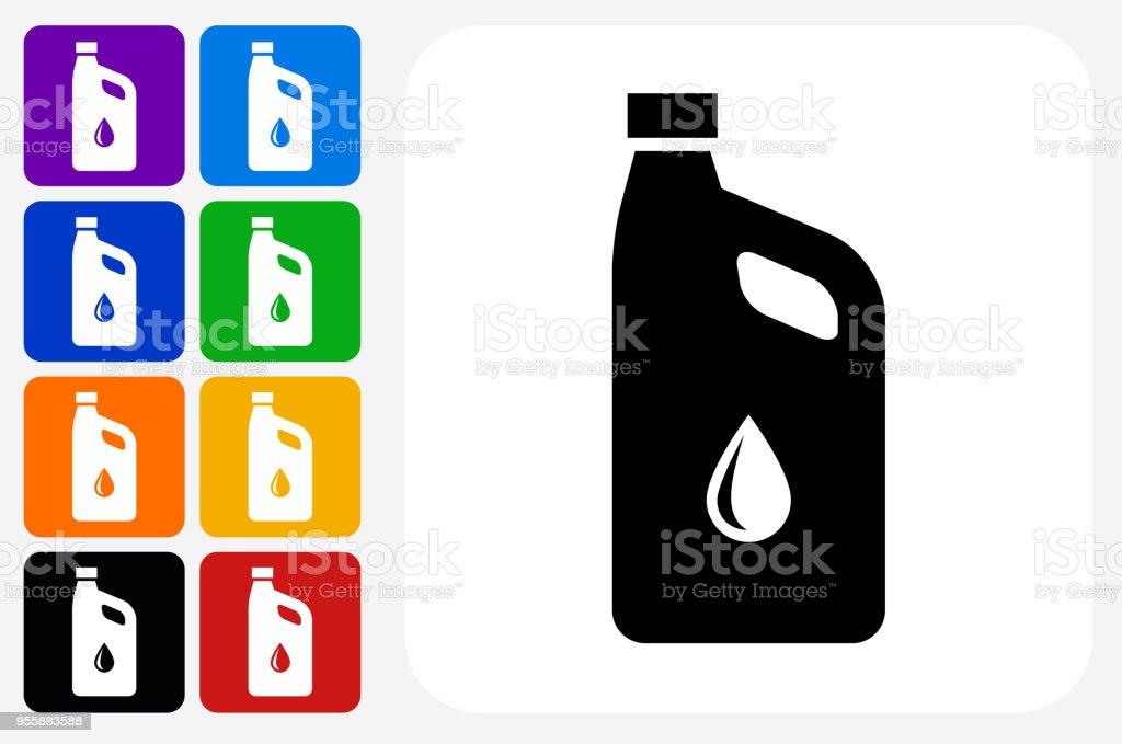 Aceite de coche icono cuadrado botón Set - ilustración de arte vectorial