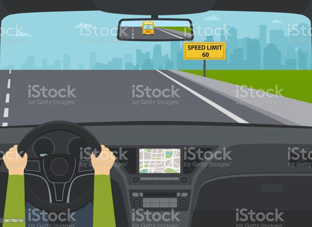 Auto auf Autobahn Blick von innen. Händen der Fahrer am Lenkrad. – Vektorgrafik