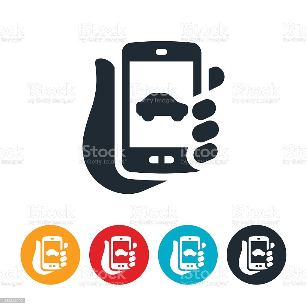 Car on Mobile Device Icon - ilustración de arte vectorial
