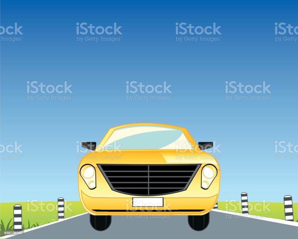 Car on road vector art illustration