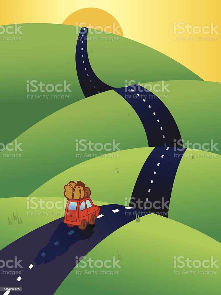 Car on the road, heading to the horizon vector art illustration