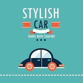 Car on the road.Travel with comfort design template