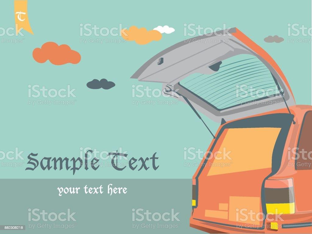 porte ouverte voiture sur fond vintage de ciel - Illustration vectorielle
