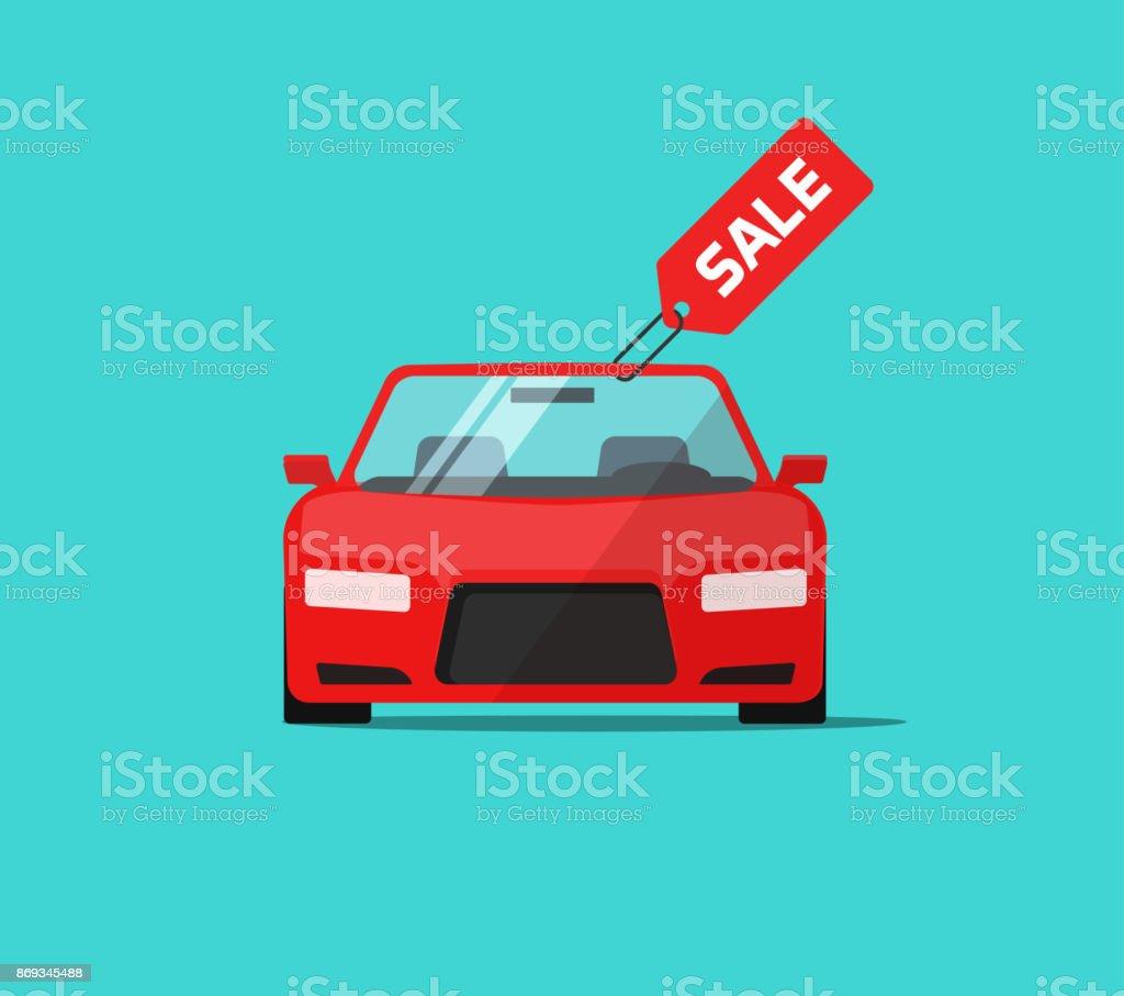 Auto oder Auto Verkauf Vektor-Illustration, flache Cartoon Design Automobil mit Verkauf Tag, Idee, mieten oder kaufen Service Förderung Etikett, Konzept der Autohaus-banner – Vektorgrafik