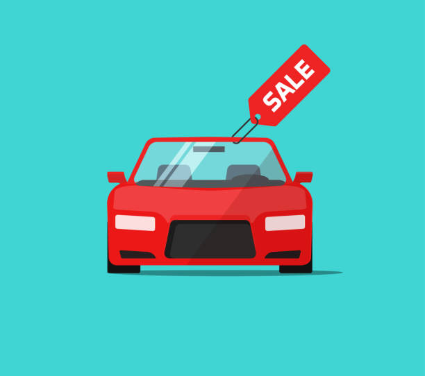 Car or auto sale vector illustration, flat cartoon design automobile with sale tag, idea of rent or buy service promotion label, concept of dealership banner Car or auto sale vector illustration, flat cartoon automobile with sale tag, idea of rent or buy service promotion label, concept of dealership banner car salesperson stock illustrations