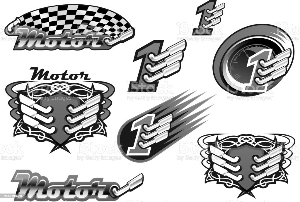Car Or Motor Racing Vector Icons Stock Illustration - Download Image