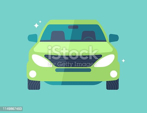 SUV vehicle car front view modern flat design illustration.