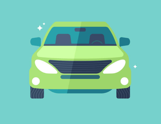 Car or SUV Front View SUV vehicle car front view modern flat design illustration. hybrid car stock illustrations