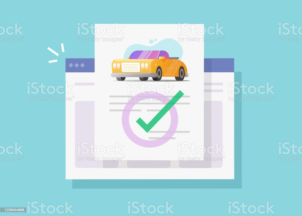 Car Or Vehicle Insurance Legal Document Online With Check Mark Or Automobile Website Agreement Details Contract Vector Flat Carton Illustration Idea Of Automobile Approved Web History Report Design Stock Illustration Download